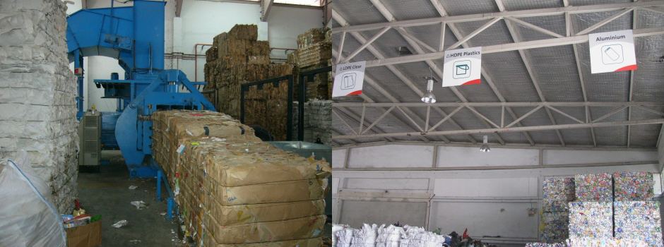 Material Recovery Facility - sorted paper, plastics and metal