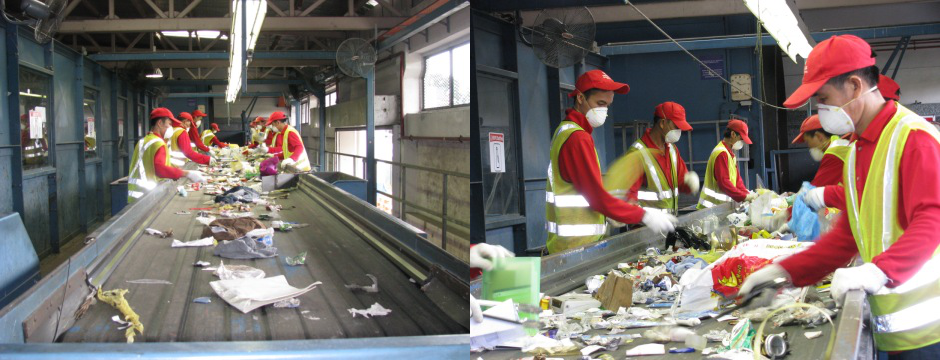 Material Recovery Facility - sorting by workers on conveyor belt
