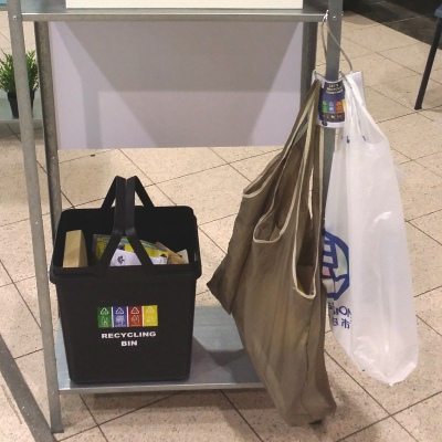 Recycling bin, reusable bag or plastic bag
